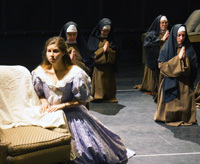 Blanche (Samantha Osborn '13) at her interview with the Prioress in Opera Notre Dame's upcoming performance of The Dialogues of the Carmelites