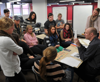 Graphic Design Professor Robert Sedlack teaches in the renovated West Lake Hall