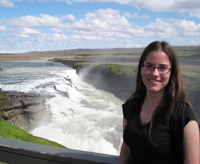 Melissa Mayus at Iceland's Gullfoss waterfall