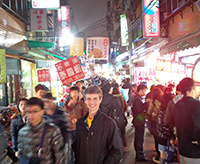 Economics major Stephen Zerfas visits a marketplace in Taiwan