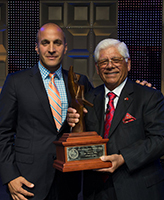 Peter Bevacqua '93, CEO of the PGA of America, with Lee Trevino
