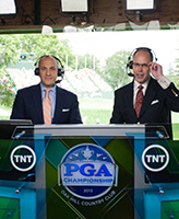 Peter Bevacqua '93, CEO of the PGA of America, in the TNT broadcasting booth (left)