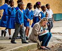 Graphic design student Steph Wulz takes notes while researching a project at Dominican Convent School in Johannesburg