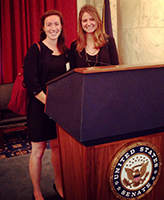 Arts and Letters students Kathryn Suarez (left) and Sarah McGough (right) attend a Notre Dame alumni event in Washington, D