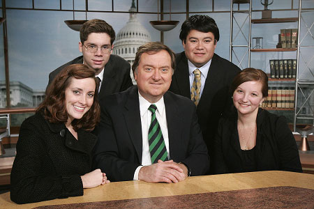 Notre Dame students with Tim Russert, then the host of NBC's Meet the Press