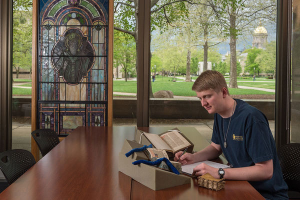 How seeing the Hesburgh Library's medieval manuscripts convinced a Notre Dame student to major in theology and German