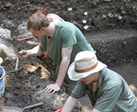 College of Arts and Letters students Patrick Conry and Wesley Wood excavating ancient artifacts in Butrint, Albania