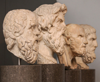 Busts of Greek philosophers from Socrates to Epicurus as seen in the British Museum, London. Photo by Lawrence OP.