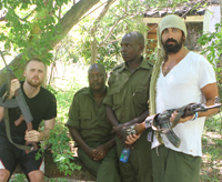 Fishing Without Nets director/writer Cutter Hodierne (far left) and producer/writer John Hibey (far right) in Kenya with cast members from the film.
