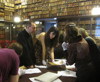 The Ambrosian Library in Milan hosted 11 Notre Dame graduate students over spring break, where they saw treasures including the Ambrosian fifth-century bible, the poet Petrarch's copy of Virgil's works, and Leonardo d Vinci's notebooks