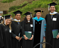Robert Johansen with some of his students at the 2010 Kroc Institute commencement