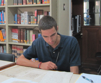 Joseph VanderZee, hard at work in a Peruvian archive