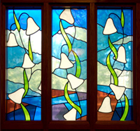 A stained-glass window in Pangborn Chapel