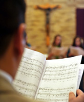 Choir rehearsal for Masters of Sacred Music students