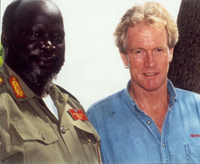 Dr. Bob Arnot with the late Sudanese leader John Garang