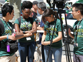 Edward Song, Zuri Eshun, Phillip Gayoso, and Nicole Timmerman were part of the Notre Dame undergraduate team granted the exclusive right to make a documentary about the internship program at the Cannes International Film Festival's American Pavilion