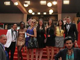 Notre Dame film students on the red carpet at Cannes International Film Festival
