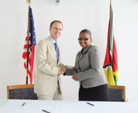 Ambassador Griffiths at an event to announce grants from PEPFAR (President's Emergency Plan for AIDS Relief) to several community-based agencies in Mozambique