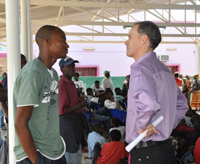 Ambassador Griffiths visits a circumcision clinic in Gaza, Mozambique