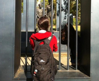 A Notre Dame student visits the Jailed Children Sculpture in Kelly Ingram Park at the Birmingham Civil Rights District in Birmingham, Ala