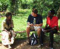 Notre Dame junior Greg Yungtum conducts an interview as part of an anthropology research project in Uganda